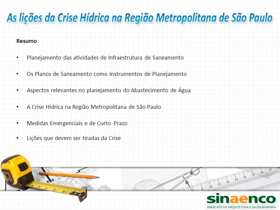Resumo Planejamento das atividades de Infraestrutura de Saneamento. Os Planos de Saneamento como Instrumentos de Planejamento.