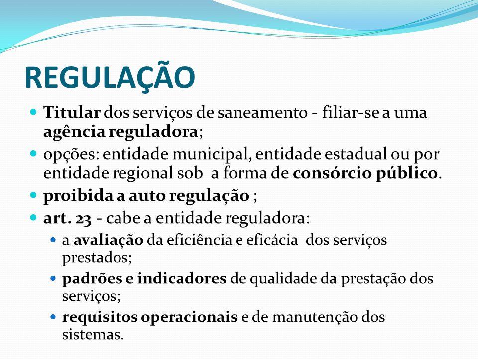 REGULAÇÃO Titular dos serviços de saneamento - filiar-se a uma agência reguladora;
