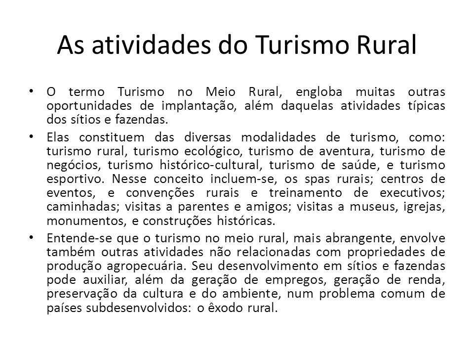 As atividades do Turismo Rural