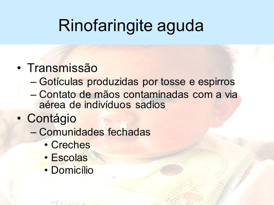 Rinofaringite aguda Transmissão Contágio