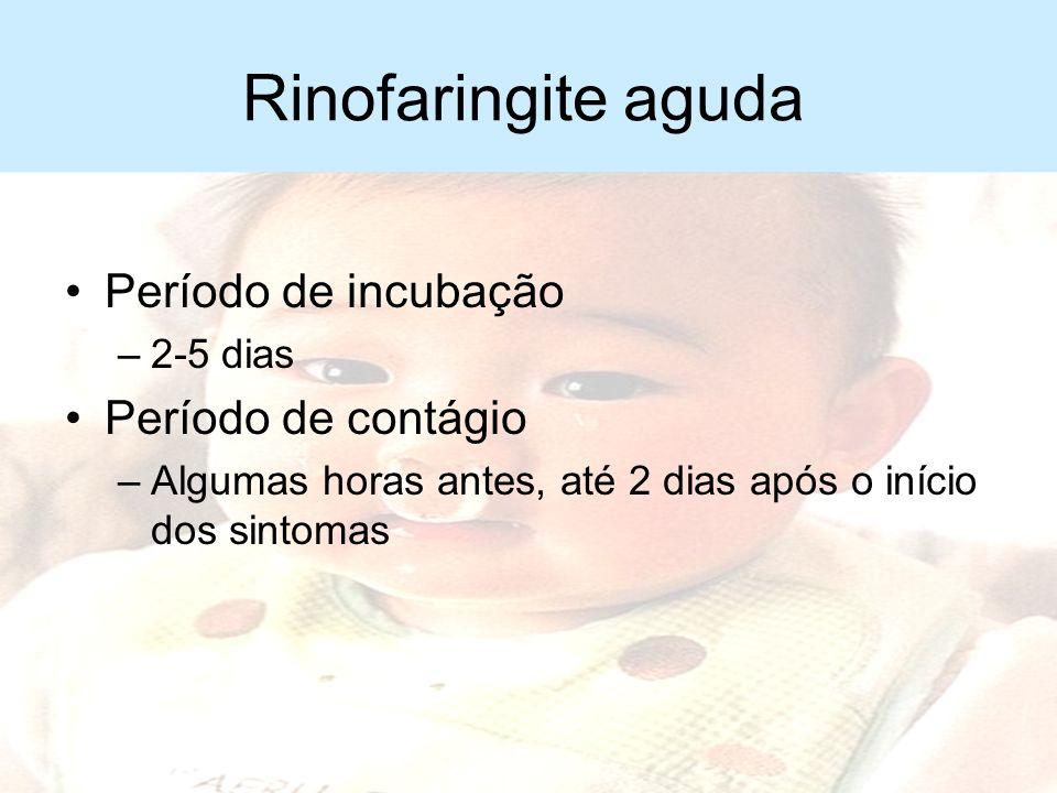 Rinofaringite aguda Período de incubação Período de contágio 2-5 dias
