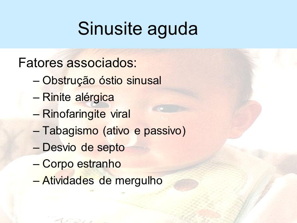 Sinusite aguda Fatores associados: Obstrução óstio sinusal