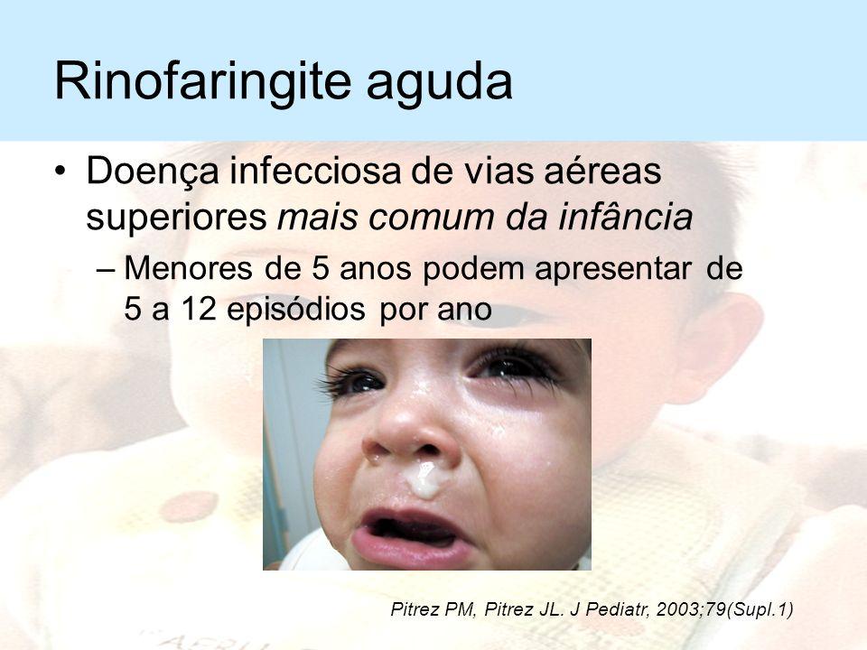 Rinofaringite aguda Doença infecciosa de vias aéreas superiores mais comum da infância.