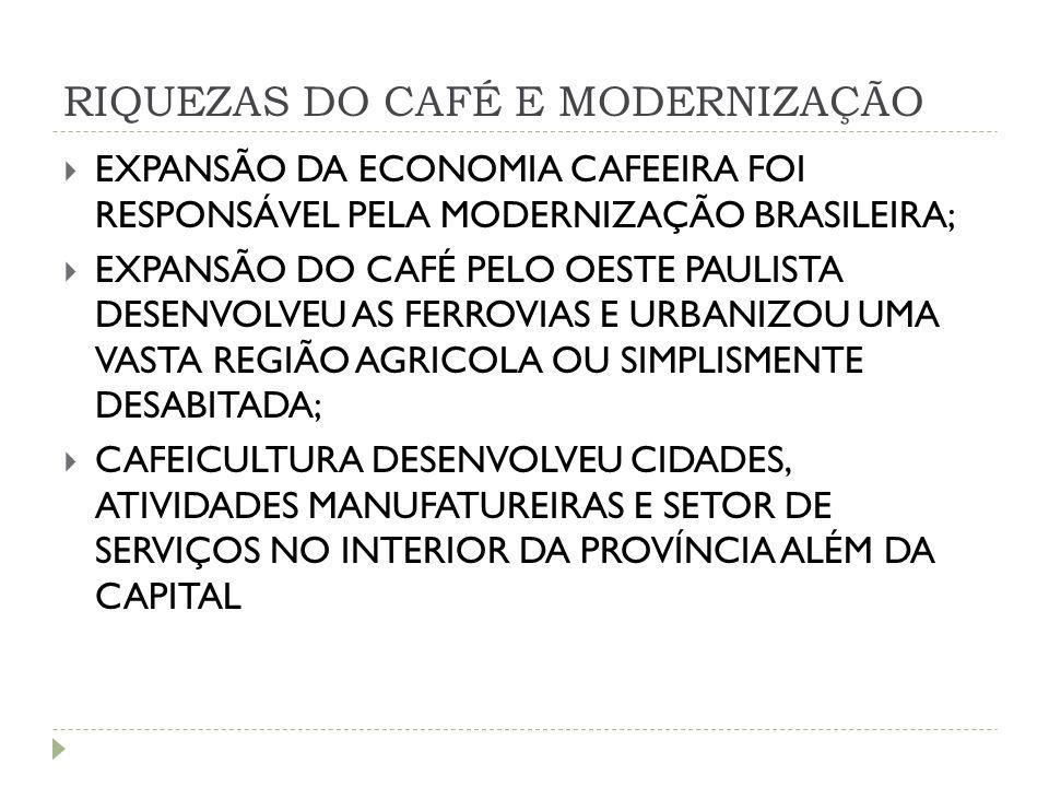 RIQUEZAS DO CAFÉ E MODERNIZAÇÃO