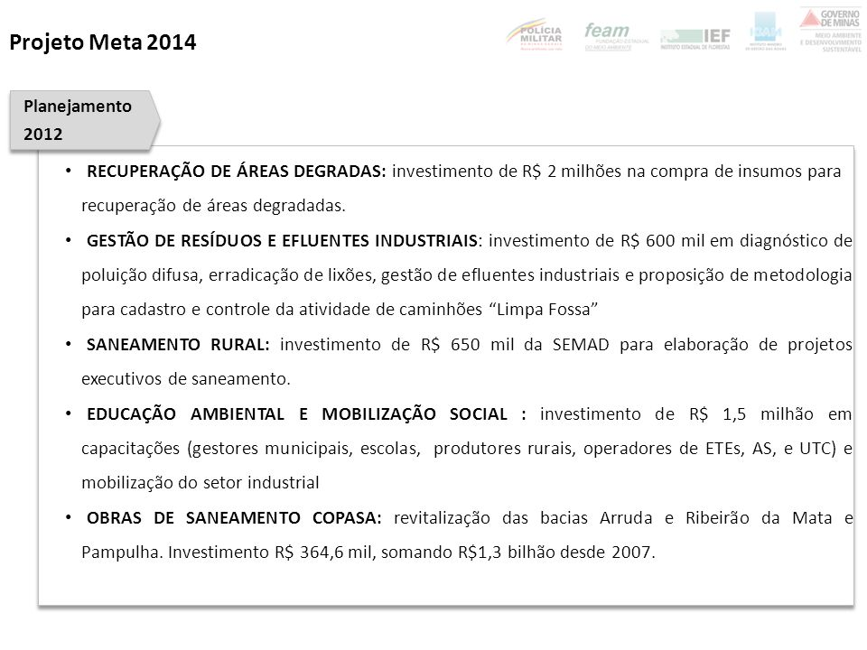Projeto Meta 2014 Planejamento 2012