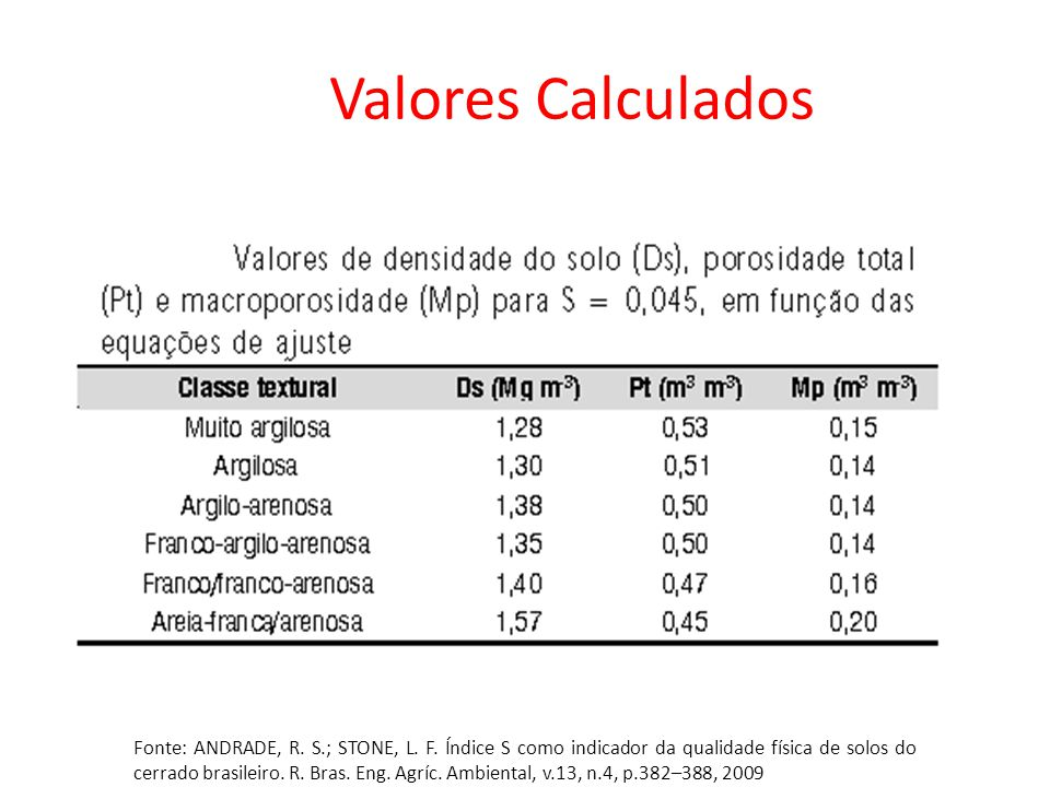 Valores Calculados