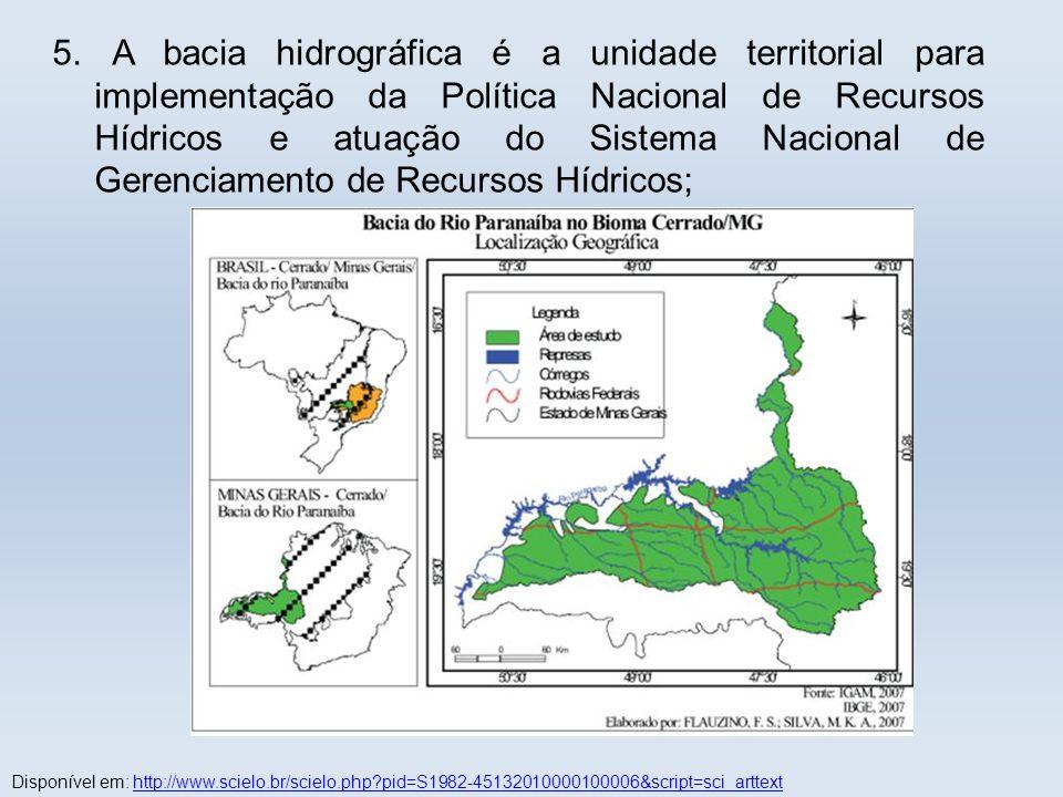 5. A bacia hidrográfica é a unidade territorial para implementação da Política Nacional de Recursos Hídricos e atuação do Sistema Nacional de Gerenciamento de Recursos Hídricos;