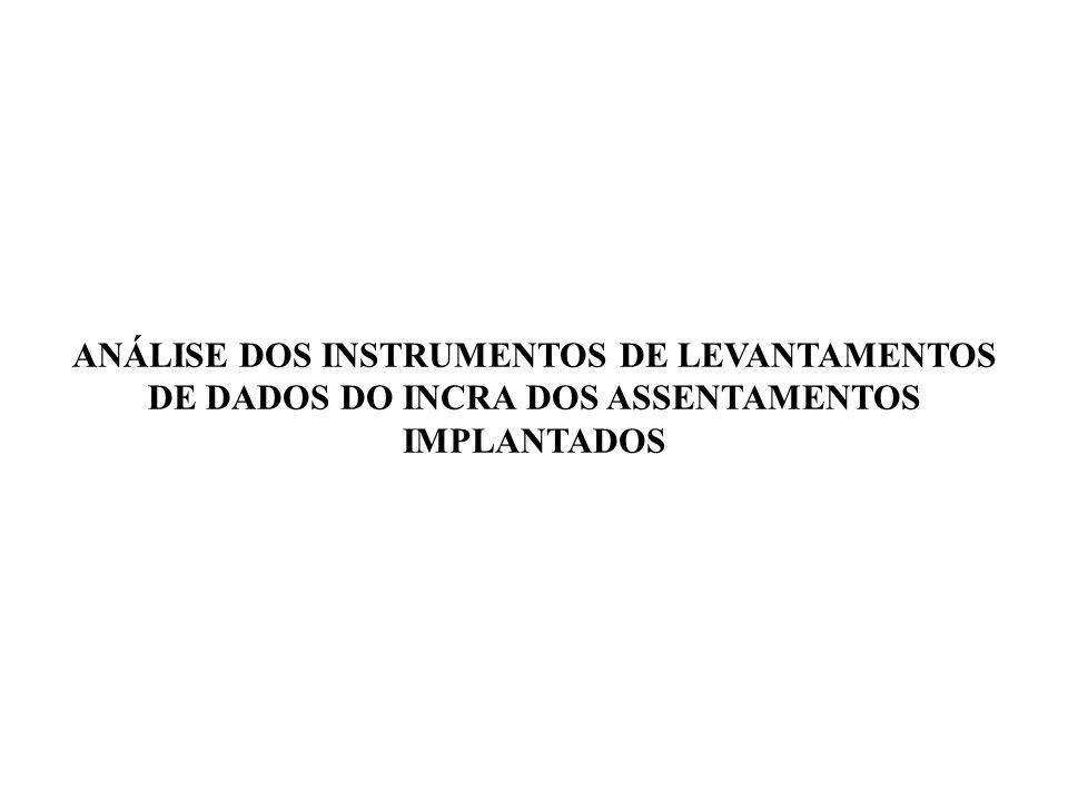 ANÁLISE DOS INSTRUMENTOS DE LEVANTAMENTOS DE DADOS DO INCRA DOS ASSENTAMENTOS IMPLANTADOS