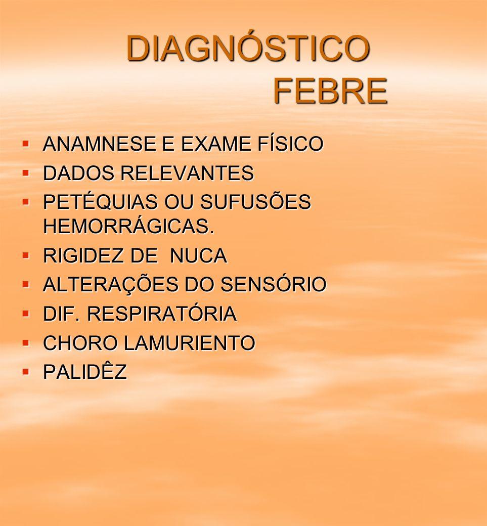 DIAGNÓSTICO FEBRE ANAMNESE E EXAME FÍSICO DADOS RELEVANTES