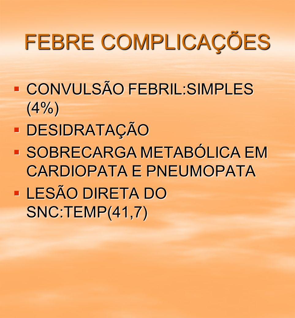 FEBRE COMPLICAÇÕES CONVULSÃO FEBRIL:SIMPLES (4%) DESIDRATAÇÃO
