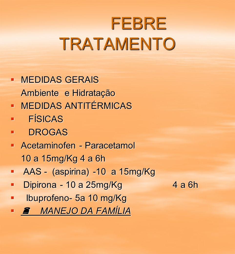 FEBRE TRATAMENTO MEDIDAS GERAIS Ambiente e Hidratação