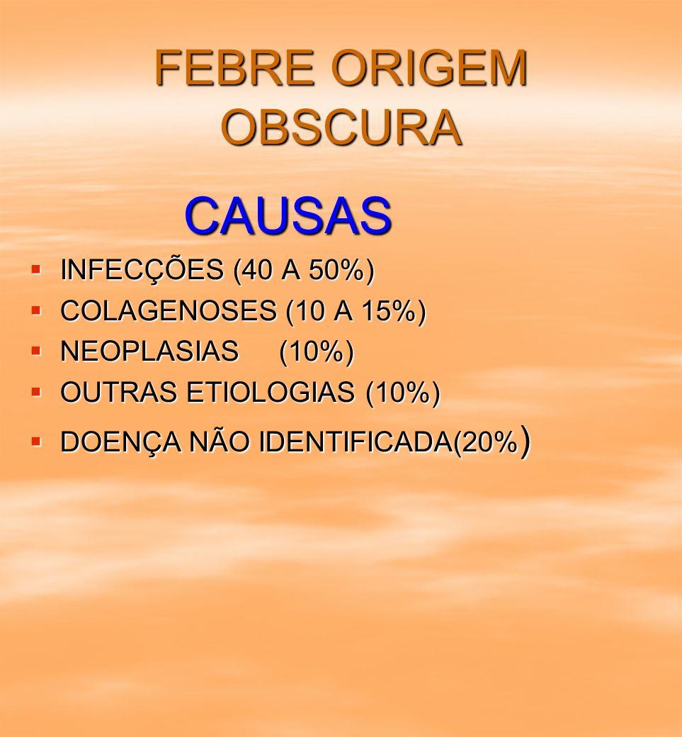 CAUSAS FEBRE ORIGEM OBSCURA INFECÇÕES (40 A 50%)