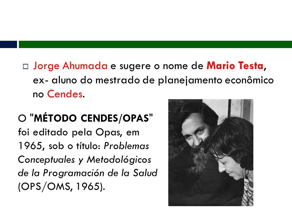 Jorge Ahumada e sugere o nome de Mario Testa, ex- aluno do mestrado de planejamento econômico no Cendes.