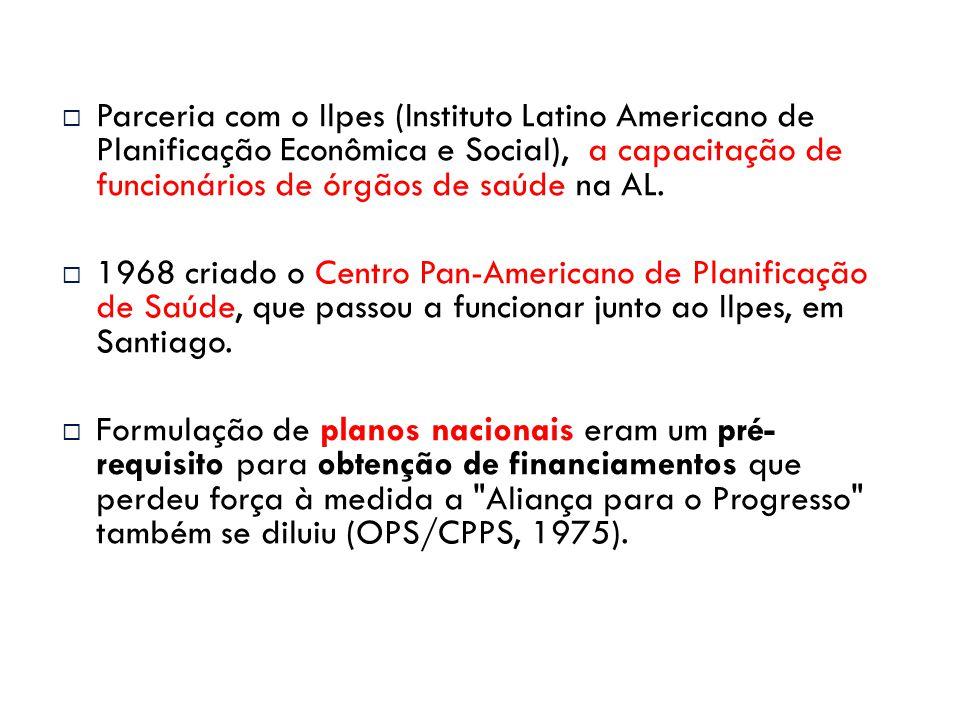 Parceria com o Ilpes (Instituto Latino Americano de Planificação Econômica e Social), a capacitação de funcionários de órgãos de saúde na AL.