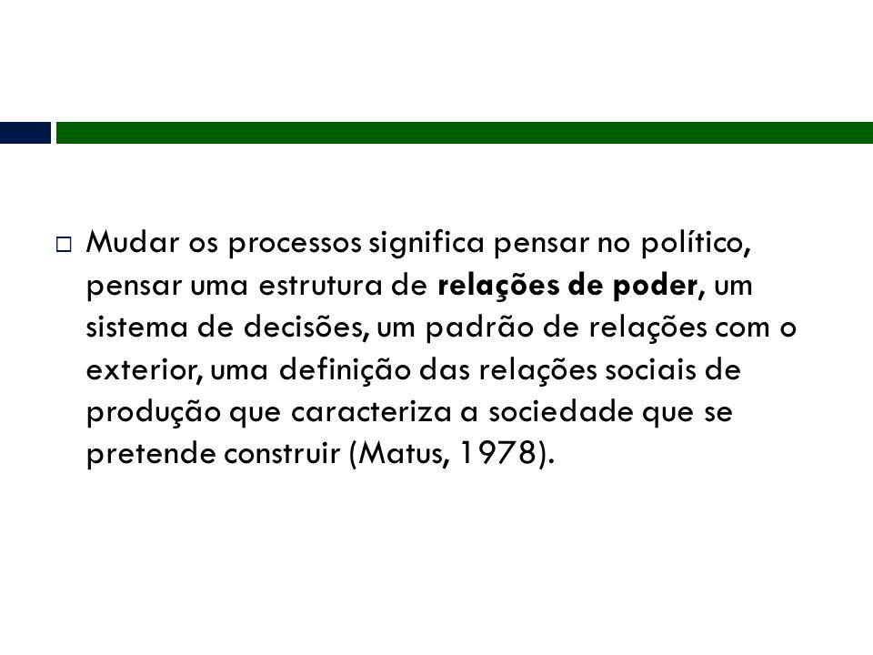 Mudar os processos significa pensar no político, pensar uma estrutura de relações de poder, um sistema de decisões, um padrão de relações com o exterior, uma definição das relações sociais de produção que caracteriza a sociedade que se pretende construir (Matus, 1978).