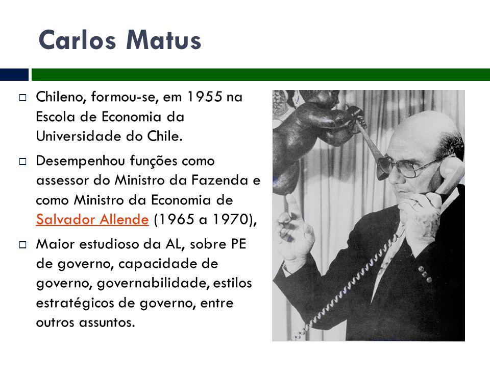 Carlos Matus Chileno, formou-se, em 1955 na Escola de Economia da Universidade do Chile.