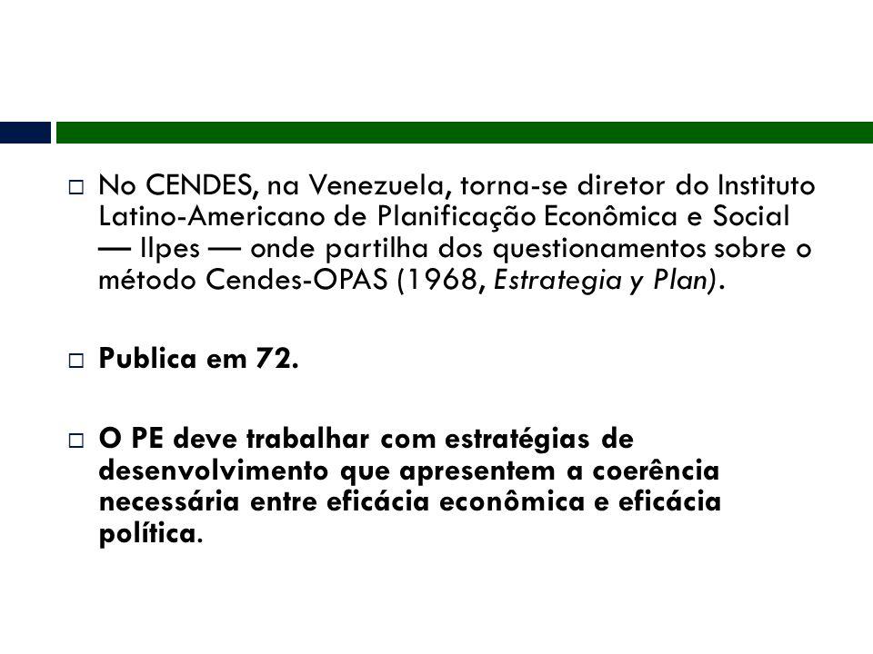 No CENDES, na Venezuela, torna-se diretor do Instituto Latino-Americano de Planificação Econômica e Social — Ilpes — onde partilha dos questionamentos sobre o método Cendes-OPAS (1968, Estrategia y Plan).
