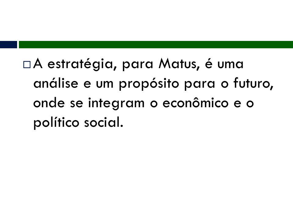A estratégia, para Matus, é uma análise e um propósito para o futuro, onde se integram o econômico e o político social.