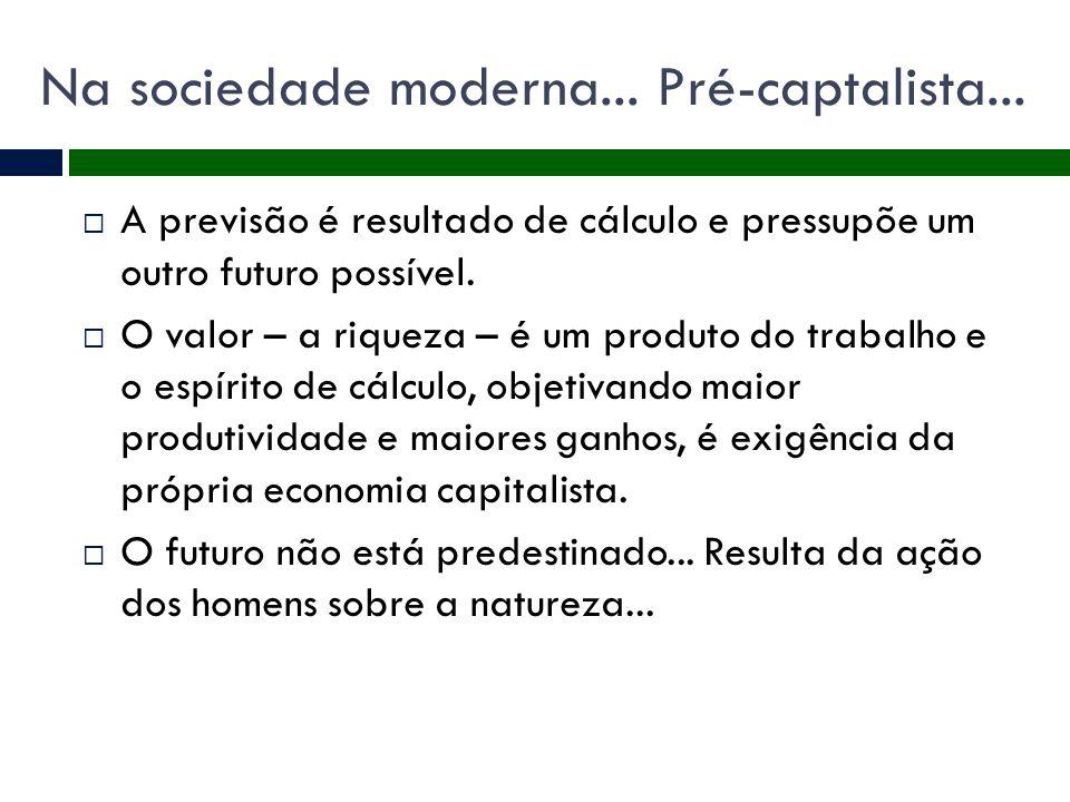 Na sociedade moderna... Pré-captalista...
