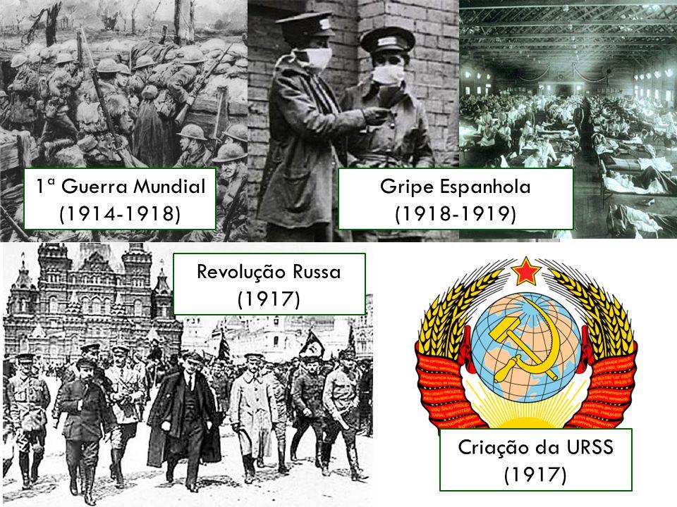 1ª Guerra Mundial (1914-1918) Gripe Espanhola. (1918-1919) Revolução Russa. (1917) Criação da URSS.