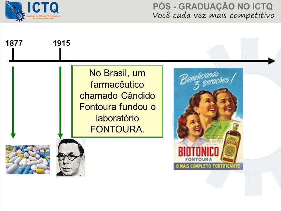 1877 1915 No Brasil, um farmacêutico chamado Cândido Fontoura fundou o laboratório FONTOURA.
