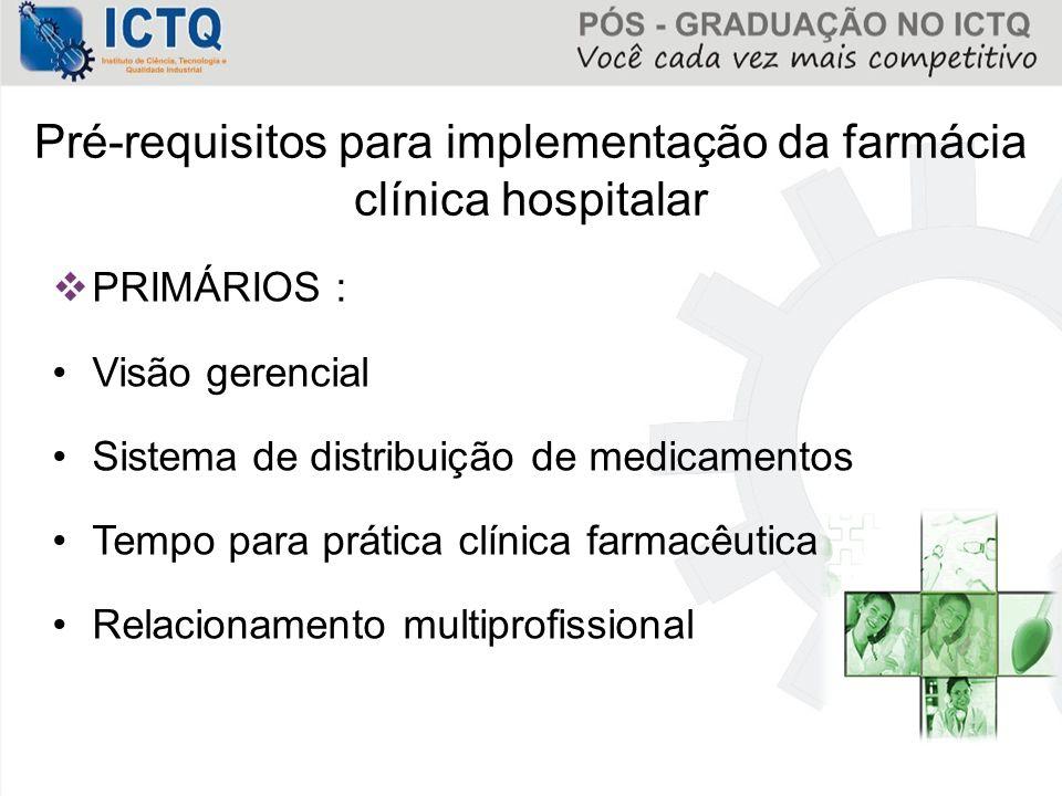 Pré-requisitos para implementação da farmácia clínica hospitalar