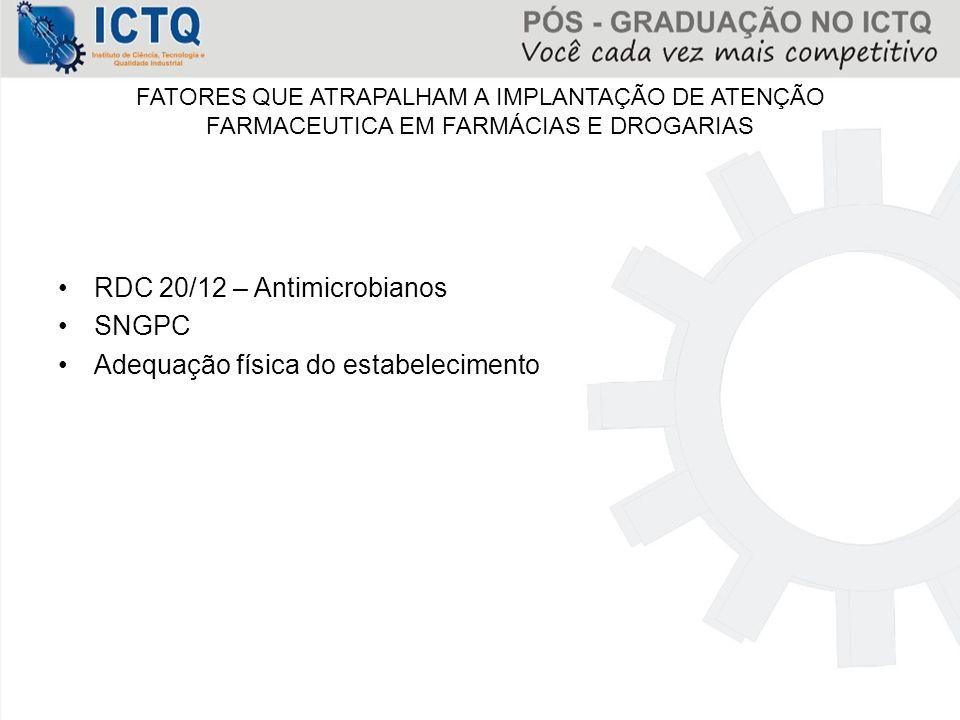 RDC 20/12 – Antimicrobianos SNGPC Adequação física do estabelecimento