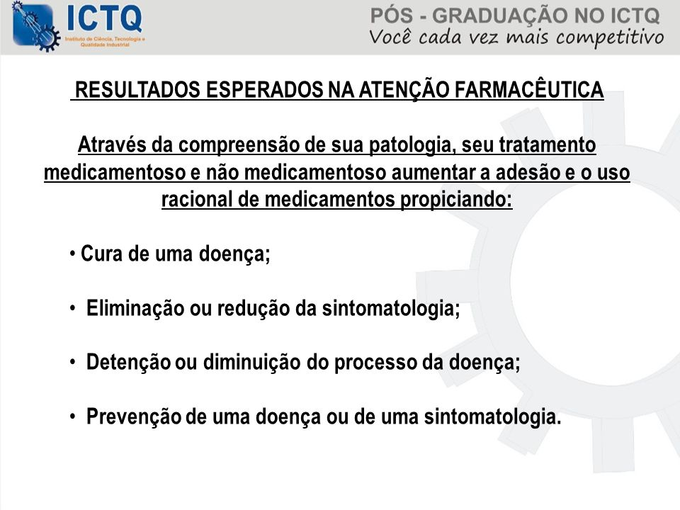 RESULTADOS ESPERADOS NA ATENÇÃO FARMACÊUTICA