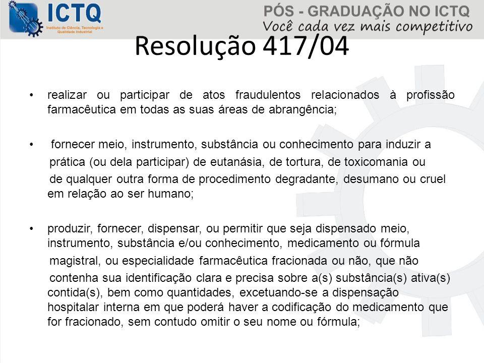 Resolução 417/04 realizar ou participar de atos fraudulentos relacionados à profissão farmacêutica em todas as suas áreas de abrangência;