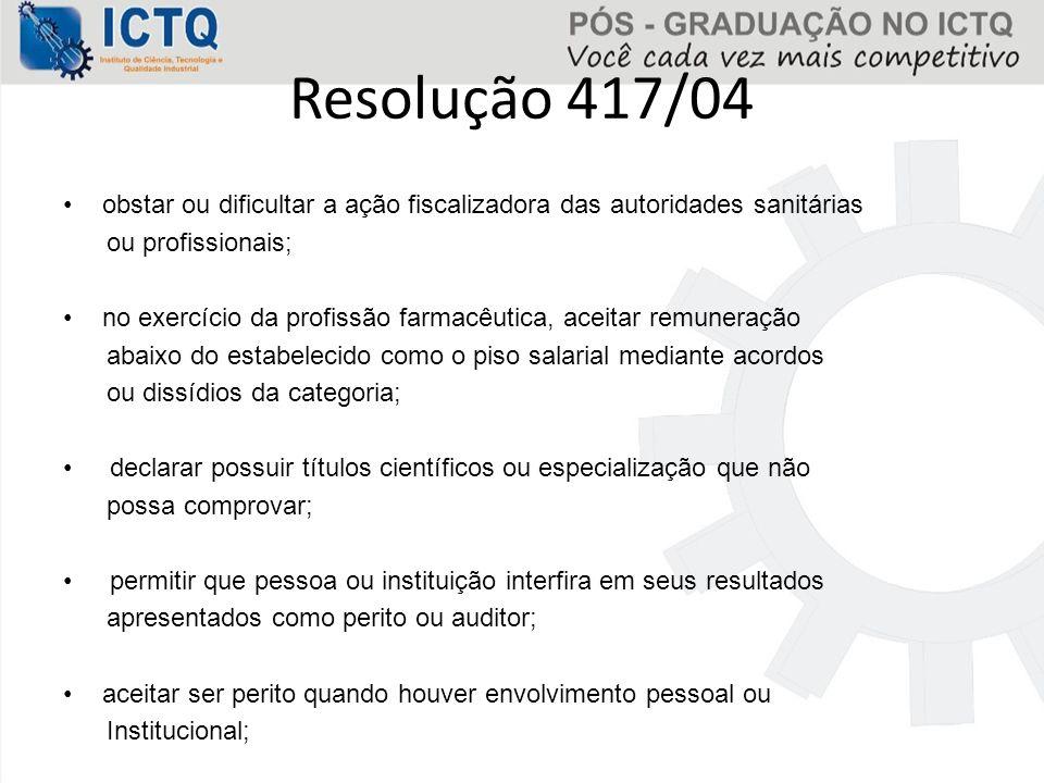 Resolução 417/04 obstar ou dificultar a ação fiscalizadora das autoridades sanitárias. ou profissionais;