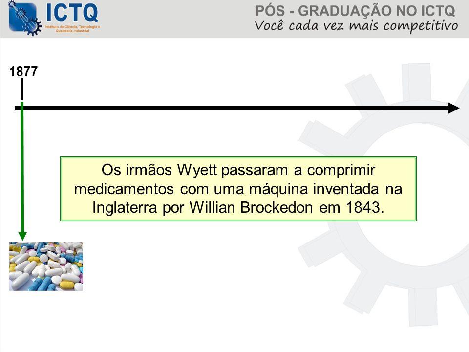 1877 Os irmãos Wyett passaram a comprimir medicamentos com uma máquina inventada na Inglaterra por Willian Brockedon em 1843.