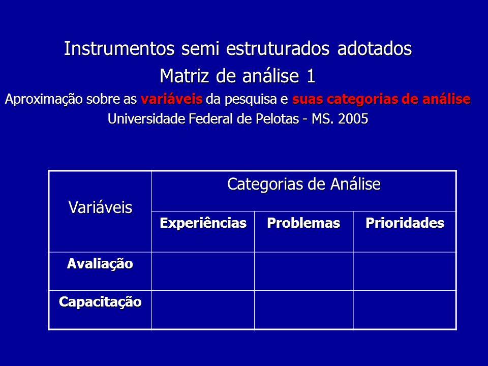 Instrumentos semi estruturados adotados Matriz de análise 1 Aproximação sobre as variáveis da pesquisa e suas categorias de análise Universidade Federal de Pelotas - MS. 2005