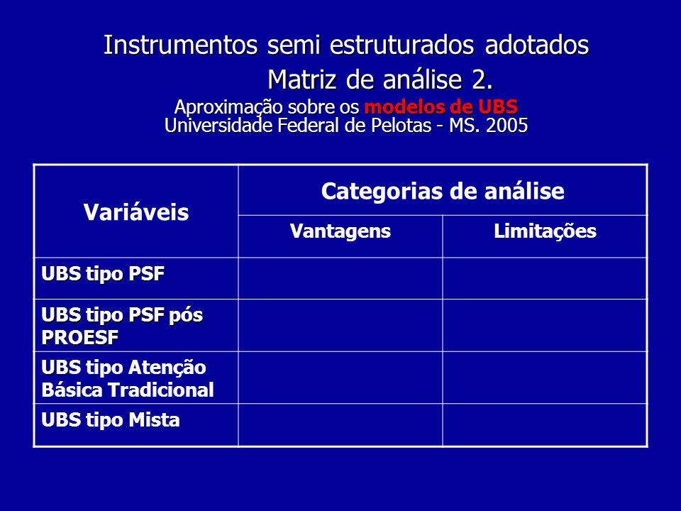 Instrumentos semi estruturados adotados. Matriz de análise 2