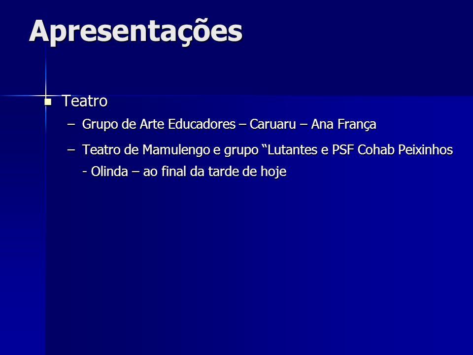 Apresentações Teatro Grupo de Arte Educadores – Caruaru – Ana França
