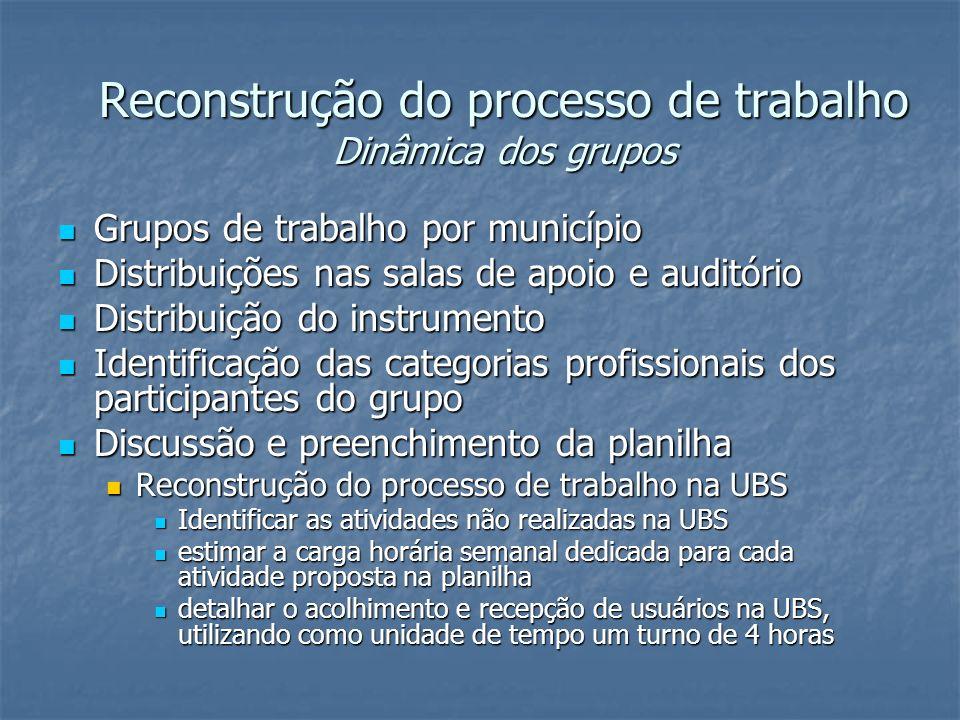 Reconstrução do processo de trabalho Dinâmica dos grupos