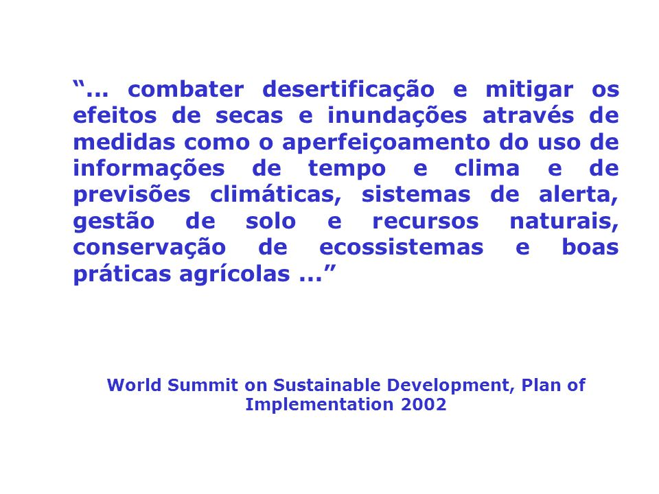 World Summit on Sustainable Development, Plan of Implementation 2002