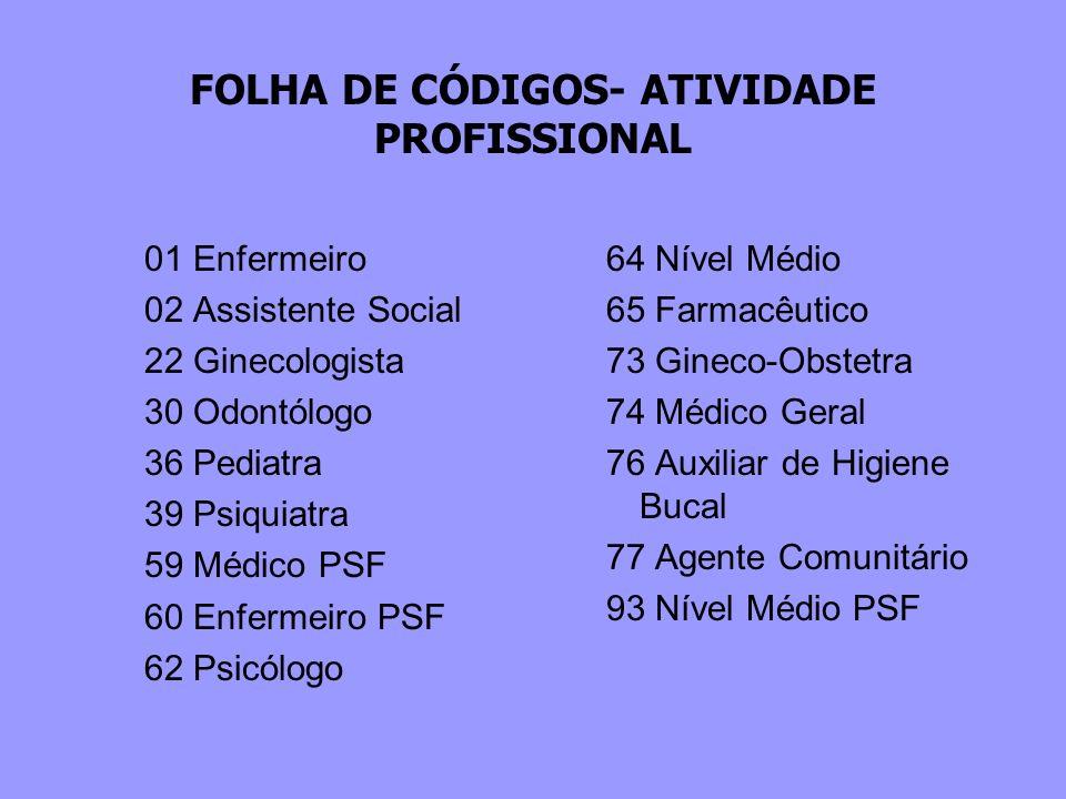 FOLHA DE CÓDIGOS- ATIVIDADE PROFISSIONAL