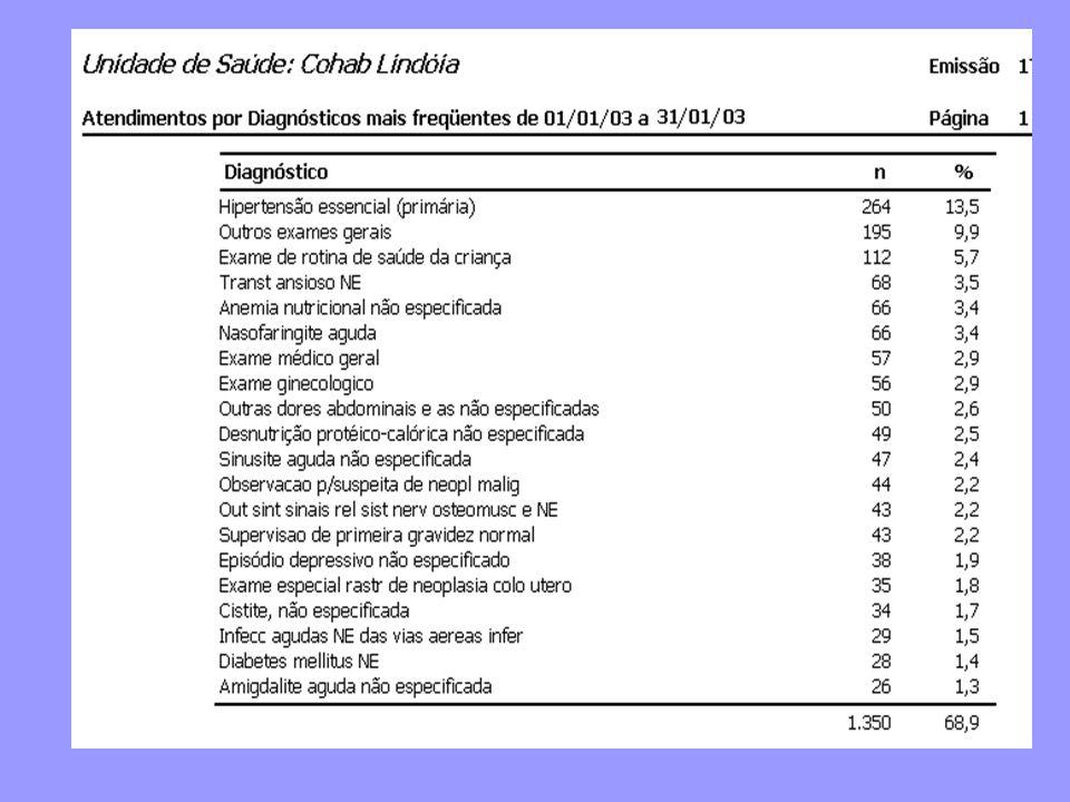 Este relatório apresenta a distribuição dos atendimentos conforme os 20 diagnósticos mais freqüentes.