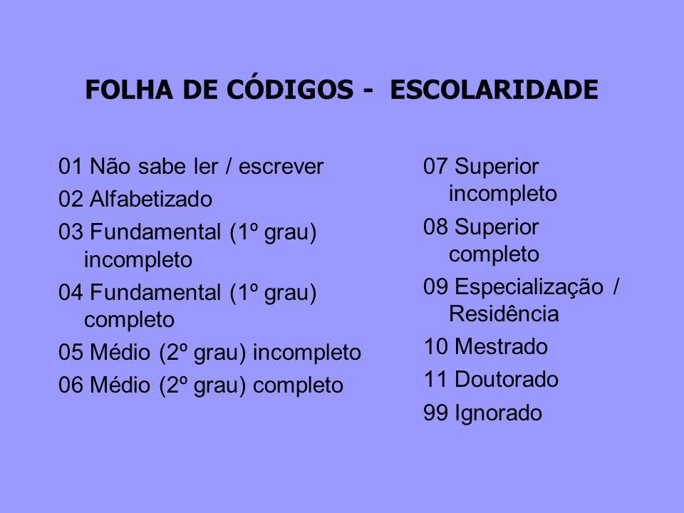 FOLHA DE CÓDIGOS - ESCOLARIDADE