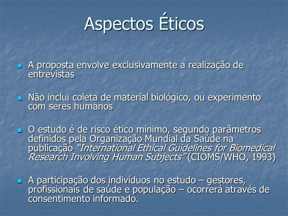 Aspectos Éticos A proposta envolve exclusivamente a realização de entrevistas.