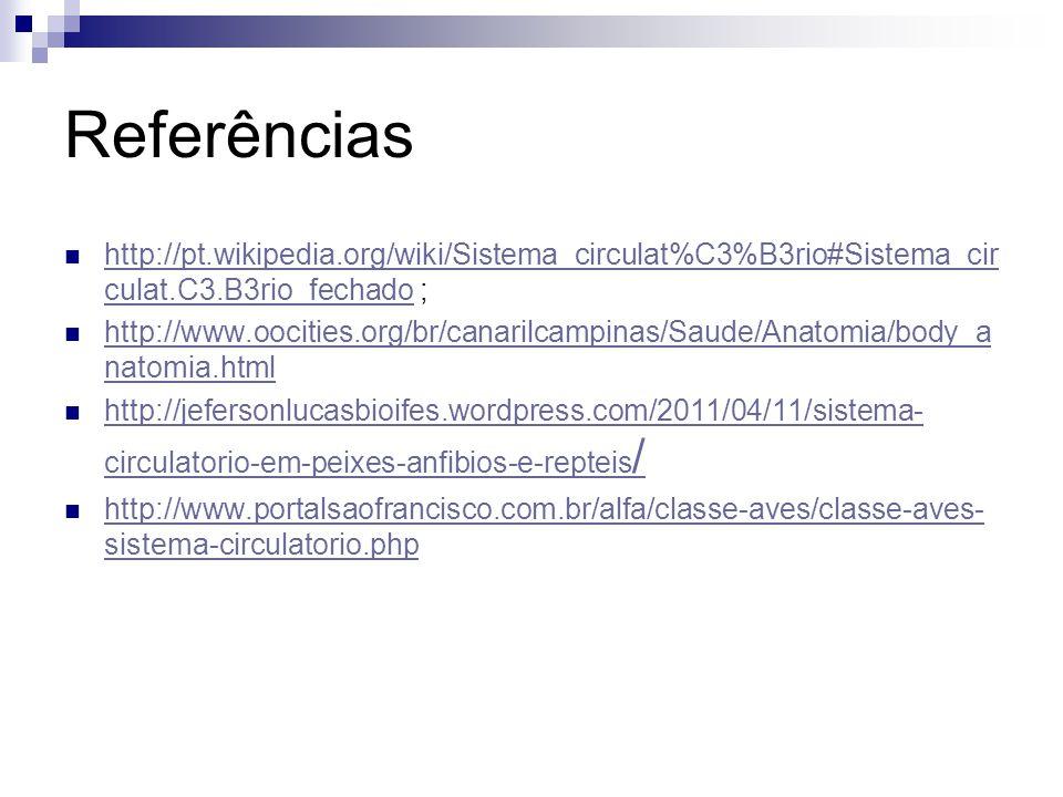 Referências http://pt.wikipedia.org/wiki/Sistema_circulat%C3%B3rio#Sistema_circulat.C3.B3rio_fechado ;
