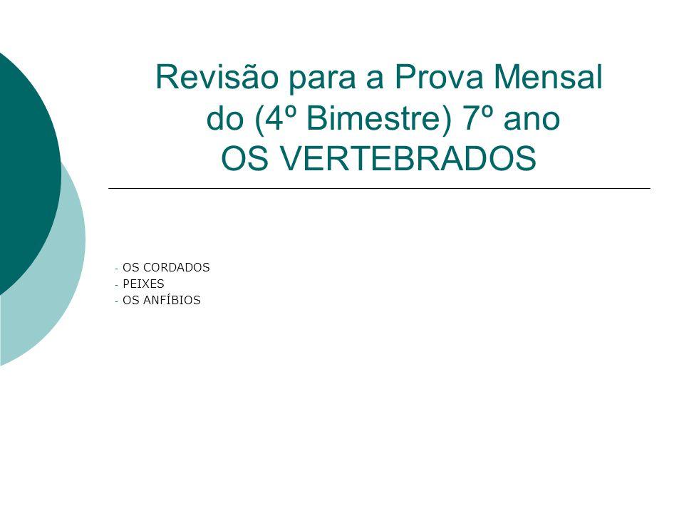 Revisão para a Prova Mensal do (4º Bimestre) 7º ano OS VERTEBRADOS