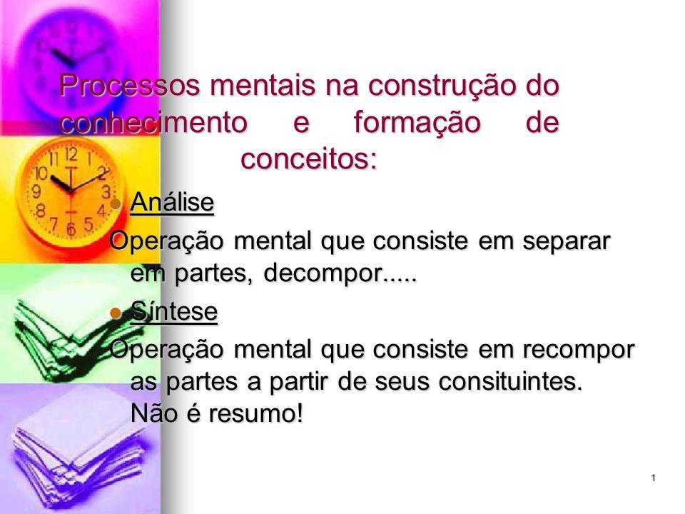 Processos mentais na construção do conhecimento e formação de conceitos:
