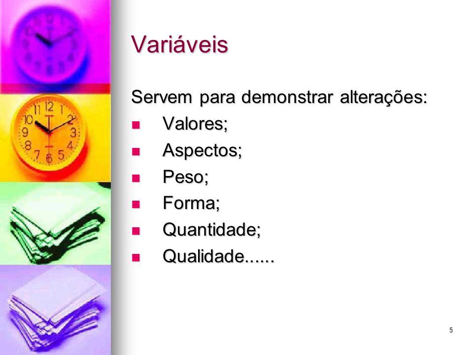 Variáveis Servem para demonstrar alterações: Valores; Aspectos; Peso;