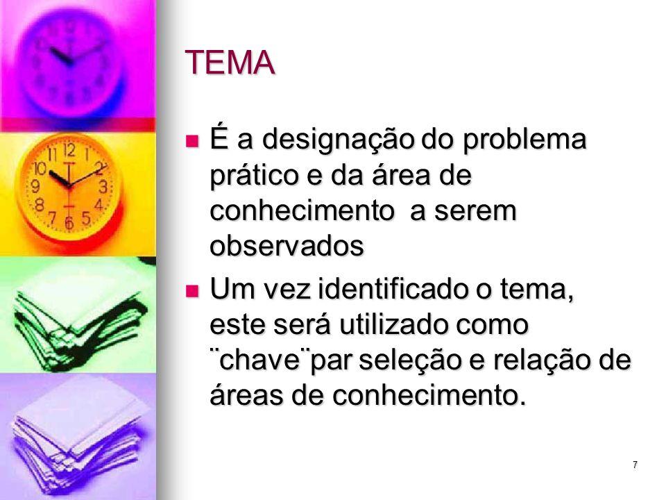 TEMA É a designação do problema prático e da área de conhecimento a serem observados.