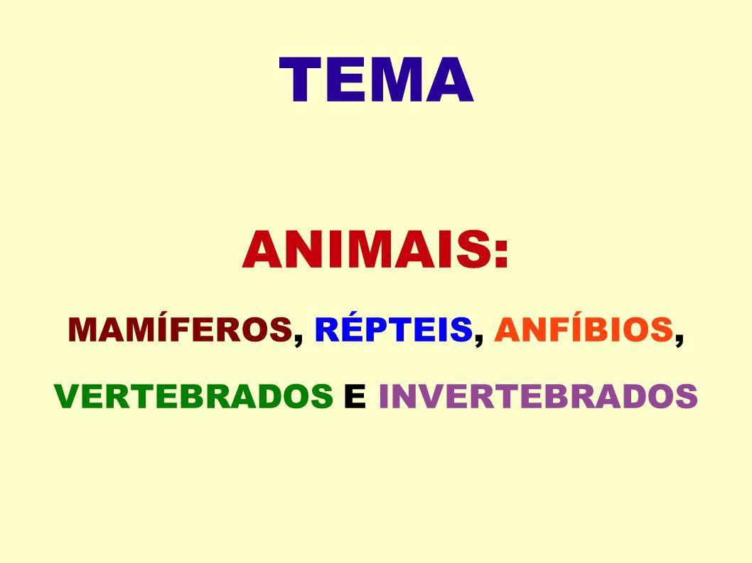 ANIMAIS: MAMÍFEROS, RÉPTEIS, ANFÍBIOS, VERTEBRADOS E INVERTEBRADOS