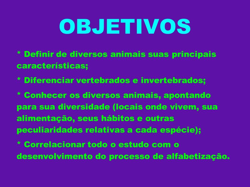 OBJETIVOS * Definir de diversos animais suas principais características; * Diferenciar vertebrados e invertebrados;