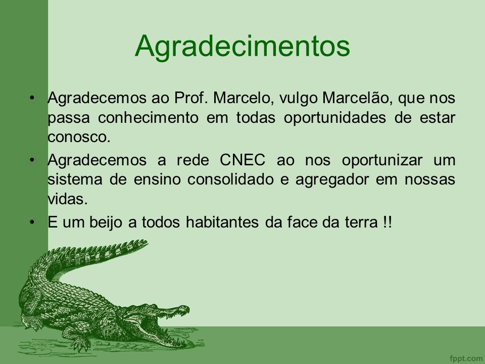 Agradecimentos Agradecemos ao Prof. Marcelo, vulgo Marcelão, que nos passa conhecimento em todas oportunidades de estar conosco.