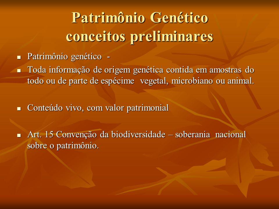 Patrimônio Genético conceitos preliminares