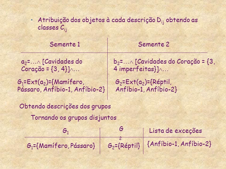 Atribuição dos objetos à cada descrição Dij obtendo as classes Cij